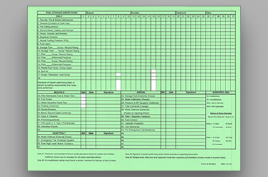 Fuel Storage Inspections Form