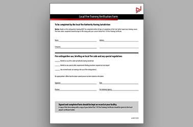 Local Fire Training Verification Form