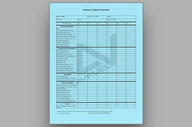 Blue Product Receipt Record
